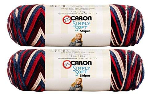Golden Gate Hook - Bulk Buy: Caron Simply Soft Stripes 100% Acrylic Yarn (2-Pack) ~ 4 oz. Skeins (Golden Gate Bridge)