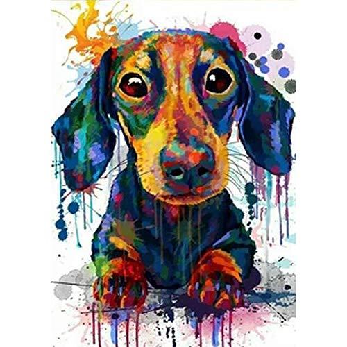 5D DIY Diamond Painting Cross Stitch Dachshund Dog Diamond Embroidery Pet Dog Square Drill Mosaic Rhinestone Wall Decor(24x34cm)