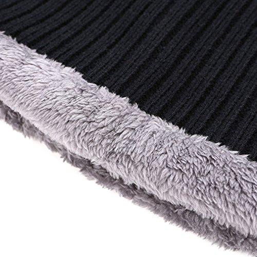 Invierno Polar y Suave de Negro Bufanda punto de Sombreros Interior Honghu Gorras Gorros Forro Con de Hombre con n6Saz