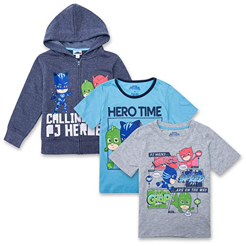 PJ Masks Hoodie Combo Set - 1 Hoodie & 2 T-Shirts Featuring Catboy, Gekko & Owlette Combo Set (Navy/Grey/Blue, 5/6) ()