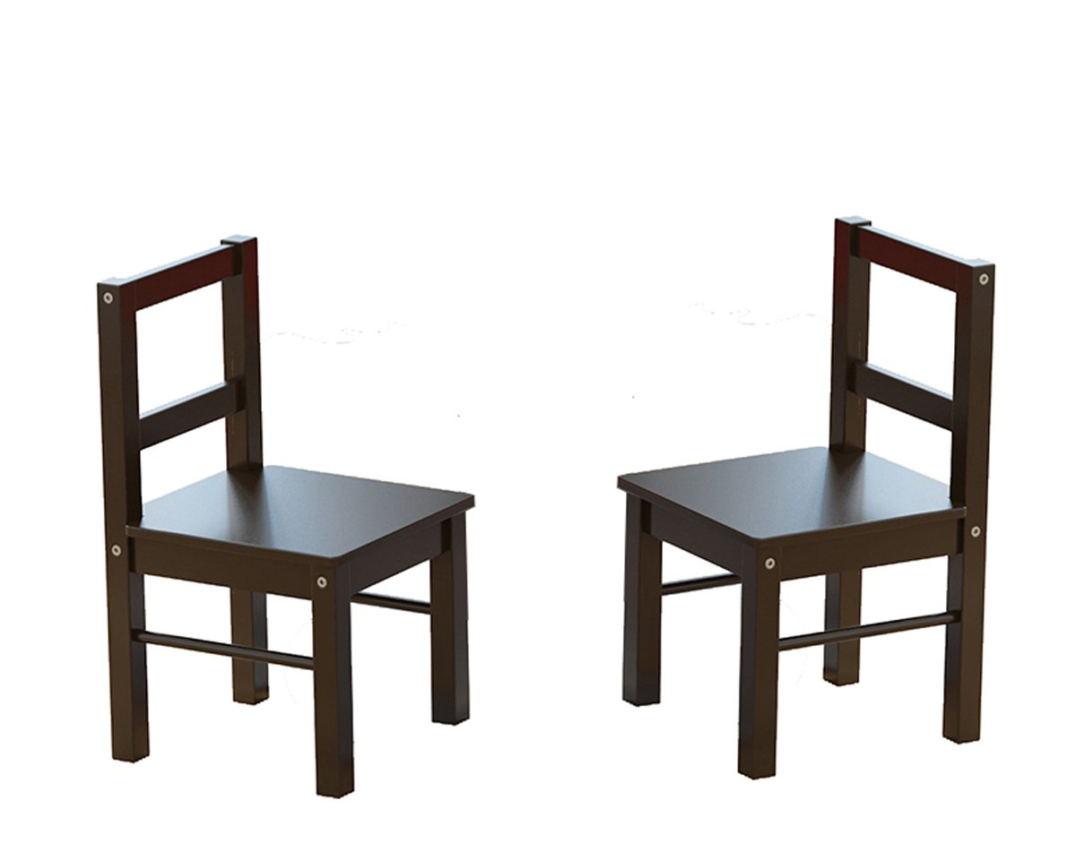 UTEX Child's Wooden Chair Pair for Play or Activity, Set of 2, Espresso by UTEX (Image #2)