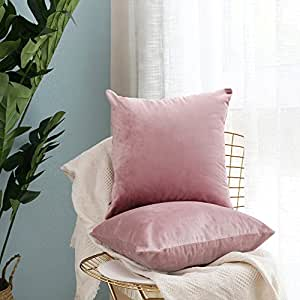 Pack of 2,Miulee Velvet Soft Soild Decorative Square Throw Pillow Covers Set Cushion Cases PillowCases for Sofa Bedroom Car18 x 18 Inch 45 x 45 Cm