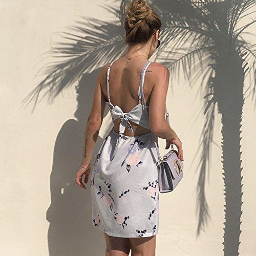 Femme de Courte Manches Mini Robe Col A Imprime Ete a V Femmes Grande Fleur sans Taille Plage Florale Robe fqxwzd4Eq
