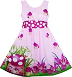 HZ41 Girls Dress Mushroom Flower Grass Print Polka Dot Belt Purple Age 4 Years