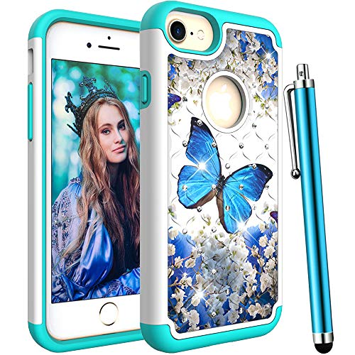 CAIYUNL for iPhone 7 Case/iPhone 8 Case/iPhone 6S / 6 Case,Dual Layer Shockproof Heavy Duty Hard PC&Rubber Bling Glitter Sparkle Studded Rhinestone Women Girls Men for iPhone 6S/6/7/8-A Blue Butterfly