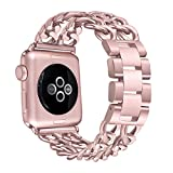 Secbolt Stainless Steel Bands for Apple Watch 38mm iWatch Strap Chain Replacement Wristband for Apple Watch Nike+, Series 3, Series 2, Series 1, Sport, Edition, Rose Gold