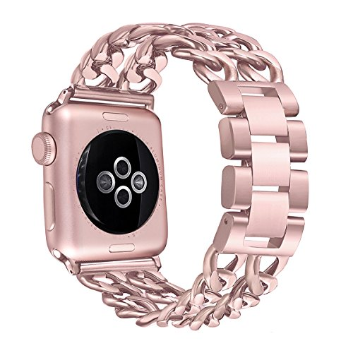 Secbolt Stainless Steel Bands for Apple Watch 42mm iWatch Strap Chain Replacement Wristband for Apple Watch Nike+, Series 3, Series 2, Series 1, Sport, Edition, Rose Gold by Secbolt