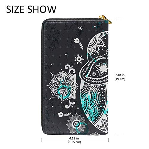 Ethnic TIZORAX Elephant Zip Womens Wallet Purses Clutch And Handbags Around Organizer Floral dxC6nHx