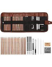 Queenser Desenhar Conjunto de esboços para iniciantes em carvão Apagador de lápis de arte Kit de pintura artesanal de desenho Lápis do artista Earser Kit de materiais de desenho