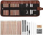 Queenser Desenhar Conjunto de esboços para iniciantes em carvão Apagador de lápis de arte Kit de pintura artes