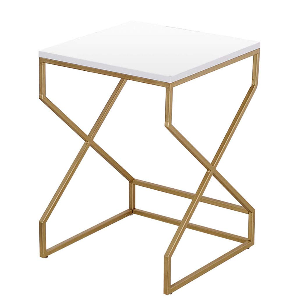 White 35cm Nightstand Accent Table Snack Coffee with Metal Frame Multipurpose MDF for Small Space Parlor Bedroom White