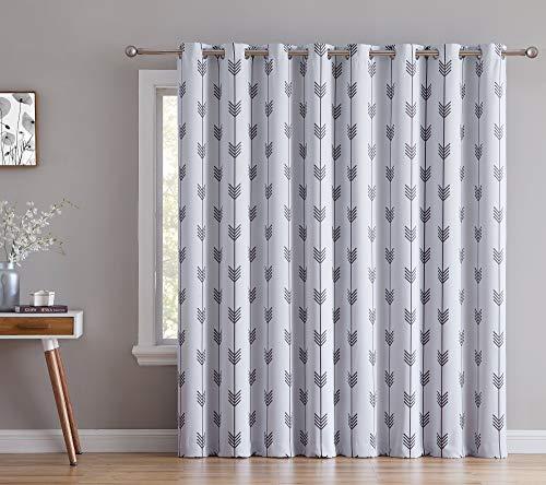 HLC.ME Arrow Print Thermal Grommet Blackout Patio Door Curtain for Sliding Doors - Living Room & Extra Wide Windows - 100