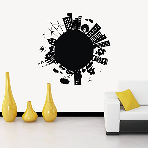 N.SunForest Earth City Wall Decal Black City Scape Skyline Paris Wall Stickers Adhesive Removable Wall Art Decorative for Home Livingroom Bedroom 31