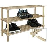 Bambelaa! Dreistöckiges Schuhregal Holz ca. 74 x 26 x 49cm 1 Stück - Einfacher Zusammenbauen Werkzeuglos Möglich