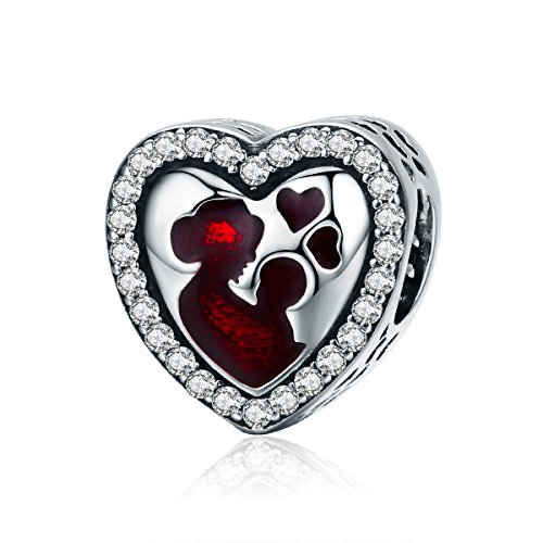 Everbling Mother's Day I Love Mom Mother Family 925 Sterling Silver Bead Fits Pandora Charm Bracelet (Great Mother's Love Heart)