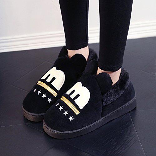 Y-Hui Chaussons en Coton Pour Hommes Chaussures chaussons dHIVER Patinage avec épaississement Sac Femme bas,Indice: La taille est petite,Black