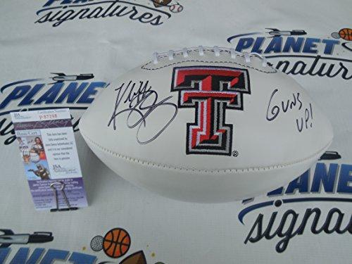 Kliff Kingsbury signed Texas Tech TTU Red Raiders logo football w/ Guns Up! JSA COA