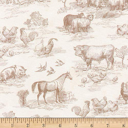 Robert Kaufman Down On The Farm Toile Natural, Fabric by the Yard