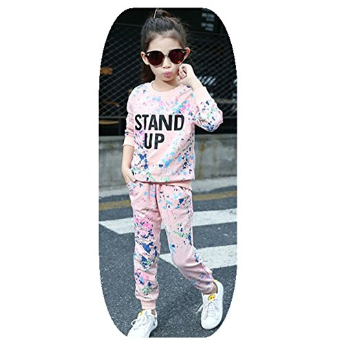 [FTSUCQ Girls Crew Neck Graffiti Pattern Pullover Sports Set,Pink 140] (Hottest 12 Year Old Girls)