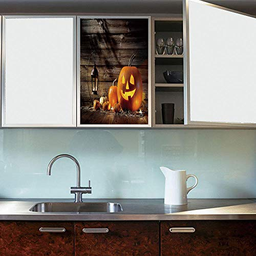 (YOLIYANA Ethylene Film Printing Design Window Film,Halloween,Suitable for Kitchen, Bedroom, Living Room,Grinning Expression Pumpkin Country House Squash Bunch)