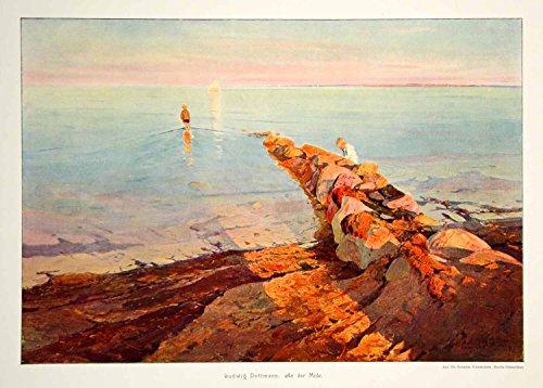 1912 Photolithograph Ludwig Dettman Art Children Mole Stone Breakwater Pier MK4 - Orig. Photolithograph by...