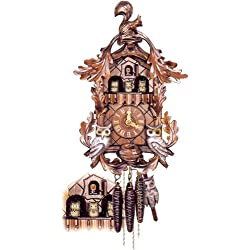 Original One Day Movement Cuckoo Clock with Moving Owls 16 Inch