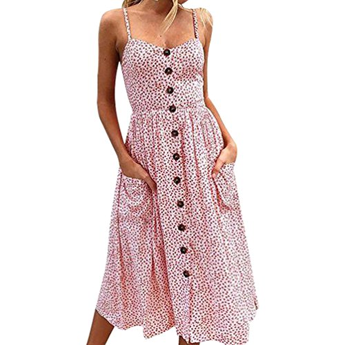 Your Gallery Women's V-Neckline Elastic Back Floral Print Bohemian Swing Midi Dress Sundress with Hand Pocket Pink S -