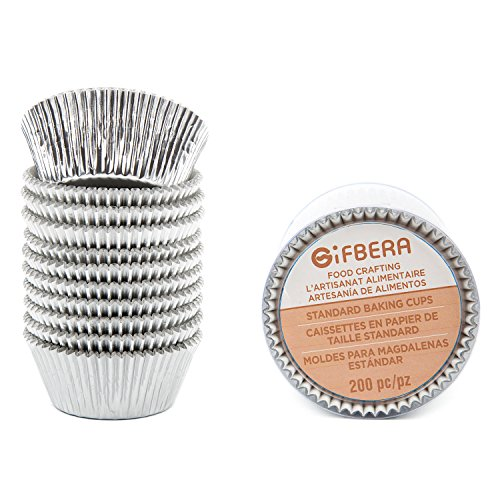 Gifbera Best Food Grade Backing Cups Muffin Cupcake Liners made with Silver Foil Metallic Paper (Foil Cupcake Cup)