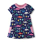 Gorboig Girls Summer Cotton Short Sleeve Cute Prints with Pockets Dress for Toddler(Flower/9-10Y)