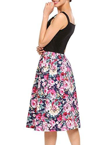 ACEVOG Women's Vintage Floral Sleeveless Party Cocktail Dress
