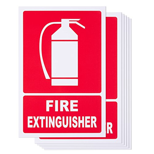 6-Piece Fire Extinguisher Signs - PVC Signs for Fire Extinguisher Wall Hanging, Extinguisher Mount Marker, Red and White - 11.7 x 7.8 Inches from Juvale