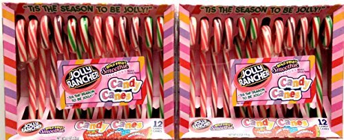 Jolly Rancher Candy Canes in Bold Fruit Smoothie Flavors, 6.3-Ounce Boxes, 12-Count Packages (Pack of 2) ()