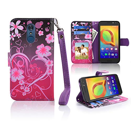 (LG Q7 Case, LG Q7 Plus Case [Wrist Strap] Luxury PU Leather Wallet Flip Protective Case Cover with Card Slots and Stand for LG Q7 (Heart)