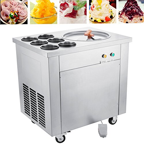 Happybuy Ice Maker 740W Commercial Ice Cream Maker for Yogurt with 1 Pan Six Buckets Ice Cream Roll Machine for Bar Dessert Shop Hotel (Single Pan)