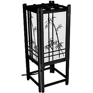 "Oriental Furniture 18"" Bamboo Tree Lamp - Black"