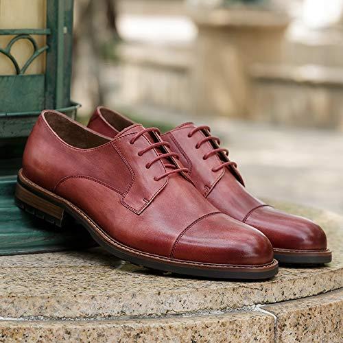 Estilo Hombres del más tamaño Yao de Size para Ocasionales Zapatos Oxford Simple Mano Brown EU Diseñador Hechos Red 39 a clásico Color Cuero Zapatos los Vintage AAvHzq