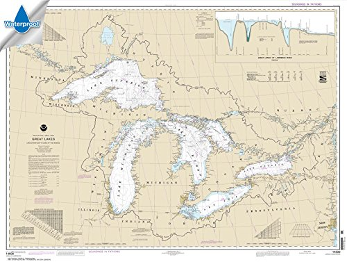 NOAA Chart 14500: Great Lakes: Lake Champlain to Lake of the Woods, 35.5 X 47.1, WATERPROOF by Paradise Cay Publications