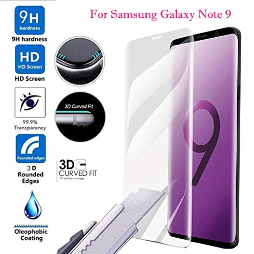 Price comparison product image Tempered Film For Samsung Galaxy Note 9, Kasien 3D Full Cover Curved Protector Screen Tempered Glass Film For Samsung Note 9 (Clear)