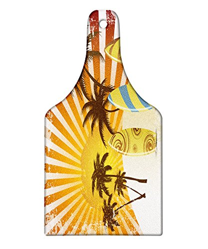 Lunarable Vintage Hawaii Cutting Board, Grunge Surfing Design with Sun Rays Exotic Trees and Beach Abstract Boards, Decorative Tempered Glass Cutting and Serving Board, Wine Bottle Shape, Multicolor by Lunarable