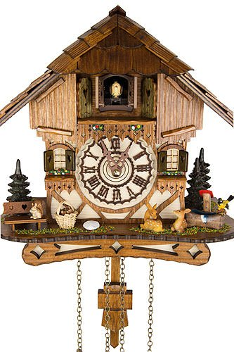 German Cuckoo Clock - Blackforest Hillside Chalet with wonderful animals - BY CUCKOO-PALACE with quartz movement - 10 1/4 inches height by Cuckoo-Palace