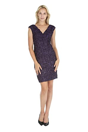 f894ab783e00 ONYX Nite Women's V-Neck Cap Sleeve Soutache Lace Column Dress at Amazon  Women's Clothing store: