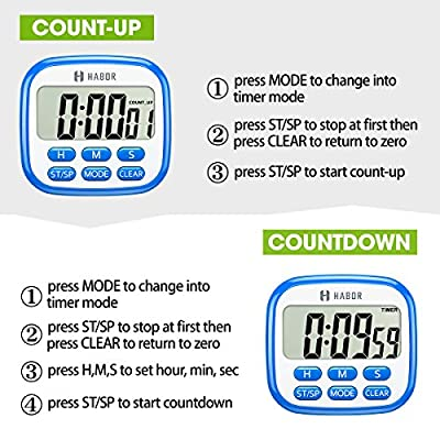 Habor Digital Kitchen Timer, Cooking Timers Clock Multifunction with Big Digits, Loud Alarm, Magnetic Backing Stand, and Memory for Cooking Baking from Habor
