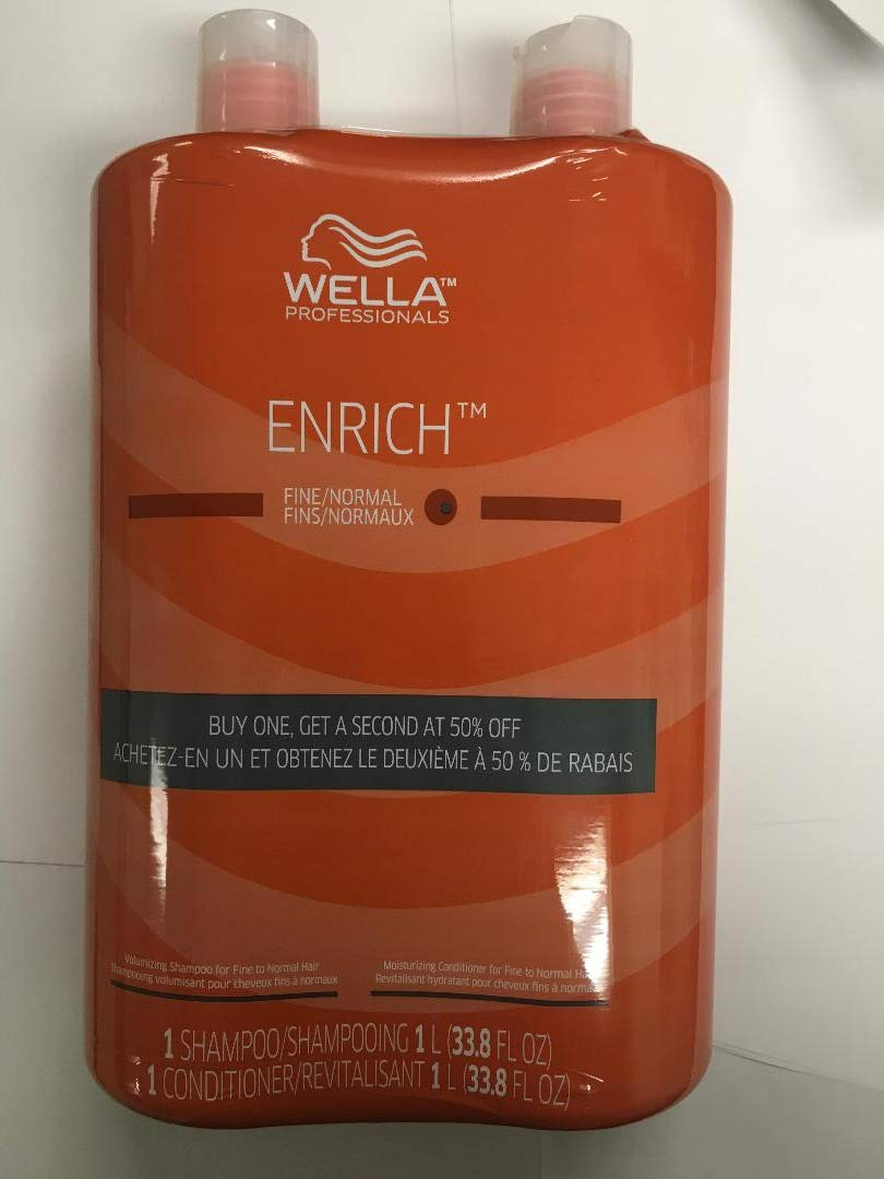 Wella Enrich Shampoo & Conditioner Duo for Fine Hair Liter with Pump Set by Wella