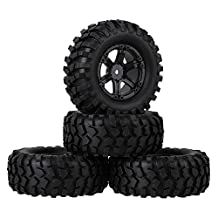 Mxfans 12mm Hex Black Plastic 6 Spoke Wheel Rims & Rubber Tyres Tires for RC 1:10 Racing Climbing Rock Crawler Pack of 4
