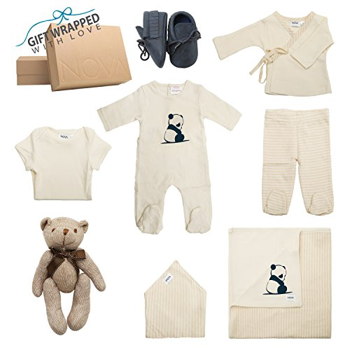 Newborn Baby Boy, 8 Piece Layette, 100% Organic Cotton Take-Me-Home & Baby Shower Infant Gift Set Nephew/Brother / Son/Wife (Boys)