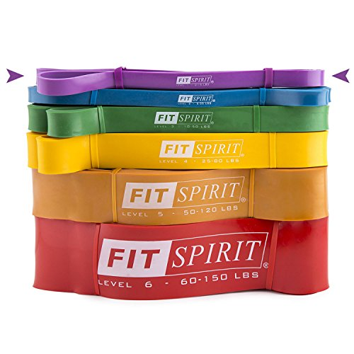 FIT SPIRIT Exercise Resistance Bands Purple, 2-5 lbs