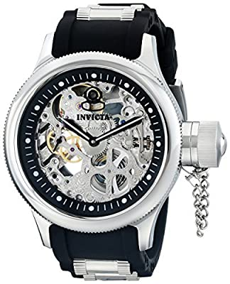Invicta Men's 1088 Russian Diver Stainless Steel and Black Polyurethane Skeleton Watch from Invicta