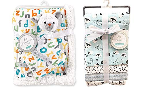 (Baby Lamb 4-Pack Flannel Receiving Blankets and Soft Plush Blanket and Blankie Pal Gift Set ABC/123 Unisex Boy Baby Shower Gift)