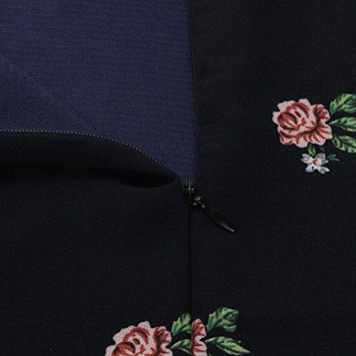 Vestidos de verano,Vovotrade Mujeres cuello redondo manga larga Rosa vestido de gasa de impresión floral