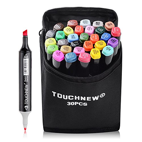 30 Colors TOUCHNEW Dual Tips Art Sketch Twin Marker Pens Highlighters with Carrying Case for Painting Coloring Highlighting and Underlining(Student Selection)-Lightwish (30 Colors, Black) by TouchNew